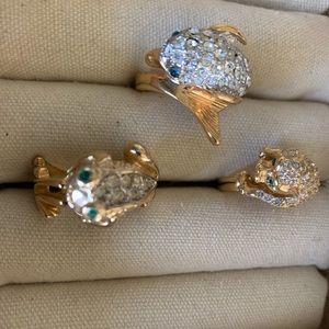 Vintage costume critter rings